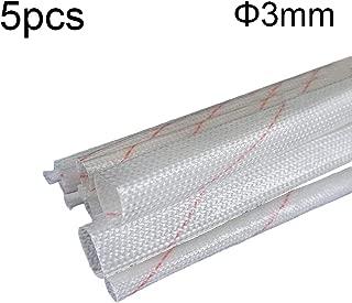Godagoda 5pcs 1/1.5/2/2.5/3/4/5/6mm Diameter Fiberglass Sleeving High Temperature Insulated Wire Casing Sleeve Glass Fiber Insulation Tube Pipe 90cm