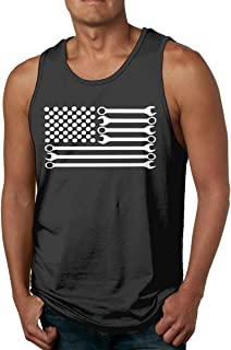 COLLS8 Mechanic DIY Wrench American Flag Mens Essential Muscle Sleeveless Tee Tank Top Vest for Running