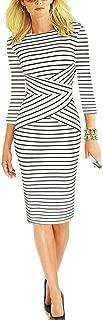 Women 3/4 Sleeve Striped Wear to Work Business Cocktail Pencil Dress
