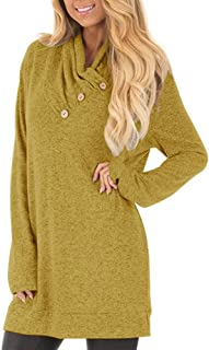 Women's Long Sleeve Pullover Sweatshirt Button Cowl Neck Casual Tunic Tops