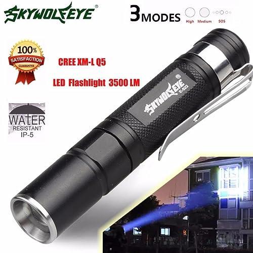 Internet 3500 Lumens Mini Tactical LED Q5 Lampe de poche de police Zoom Puissant militaire de grade étanche AAA Torche 3 Modes Avec Clip