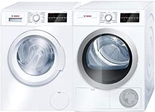 Bosch Front Load Laundry Pair in White with WAT28400UC Washer and WTG86401UC Electric Dryer