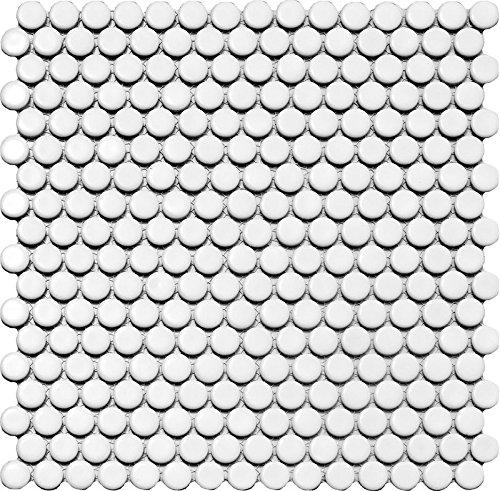 1rete Bottone in ceramica mosaico bianco lucido