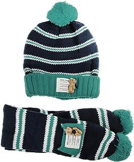 (Baoxinjp)冬 3-8歳 子供 帽子 マフラー 2点セット 可愛い お洒落 毛糸 お出かけ お散歩 ハット ネックウォーマー ニット ガールズ ボーイズ あったか 2点セット