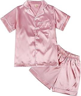 Pijama Niñas Niños, Miyanuby 2 Piezas Conjuntos de Pijamas de Seda/Ropa de Dormir de Manga Corta/Peleles para Dormir para ...