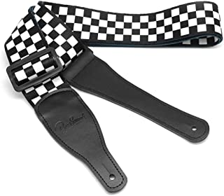 BestSounds Checkered Guitar Strap & Genuine Leather Ends Guitar Shoulder Strap ,Suitable For Bass, Electric & Acoustic Guitars (Black and White Checkered)