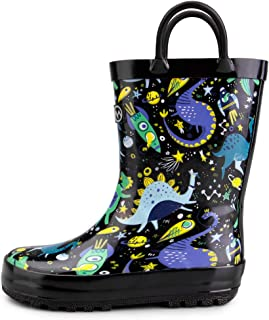 Kids Toddler Rain Boots BPA-Free Easy Pull-On Handle for Boy Girl