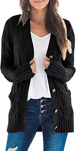 Pofash Women's Long Sleeve Cable Knit Cardigan Sweater Button Down Open Front Outerwear
