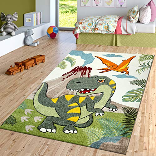 TT Home Alfombra Habitación Infantil Verde Dinosaurios Selva Volcán Efecto 3D Pelo Corto, Größe:120x170 cm