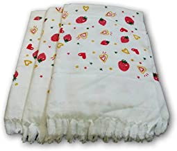 "Looms & Weaves - 3 White Berry Printed Bath Towels - Standard Towel ( 60"" * 30 "") (Super Water Absorbent, Very Thin, Light Weight, Soft & Easy To Dry)"