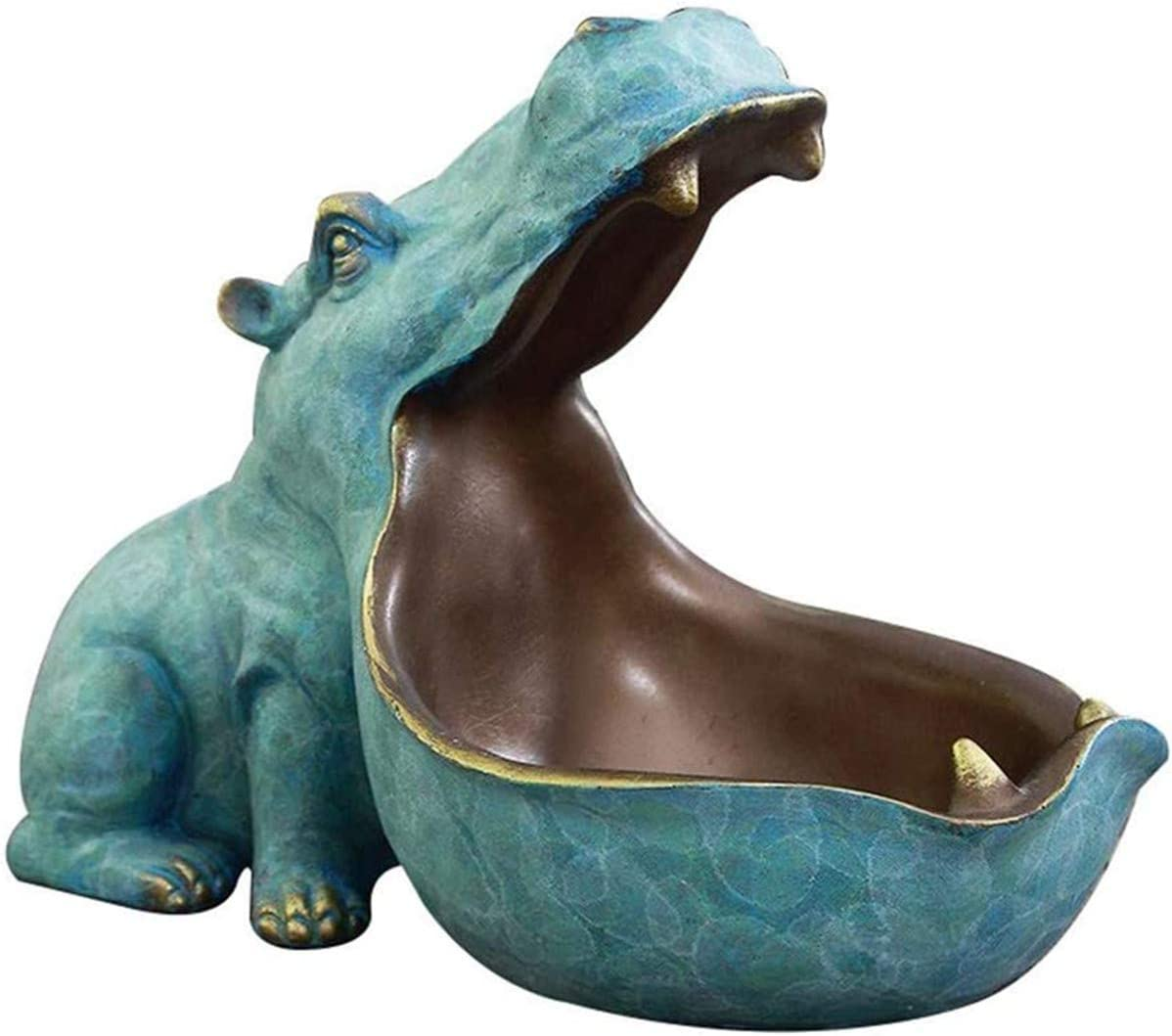 Big Mouth Hippo Key Bowl Resin Hippo Figurine Key Storage Holder Desktop Candy Dish Organizer For Home Decoration Office Key Candy Coin Storage Green Amazon Co Uk Kitchen Home