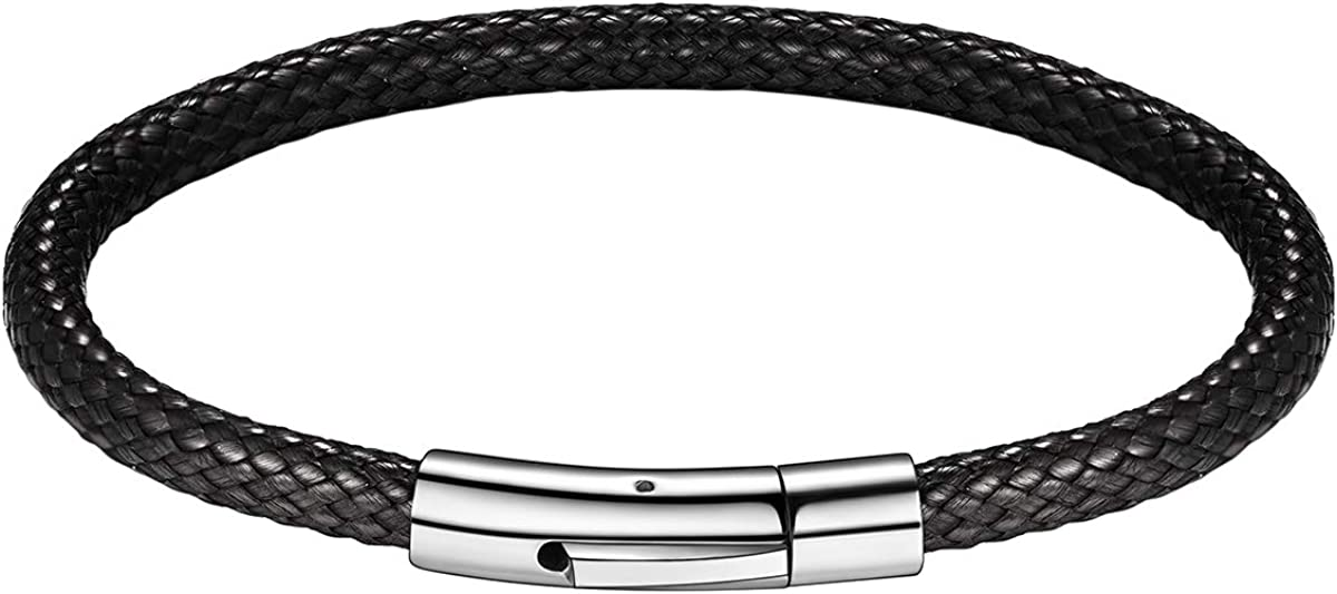 FOCALOOK Mens Oakland Mall Bracelet Leather San Francisco Mall Braided Customized Beads Free Cl