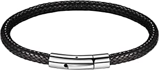FOCALOOK Free Customized,Waterproof Soft Comfortable Braided Rope Leather Bracelet, Black/Brown, for Men/Women, Fathers Da...