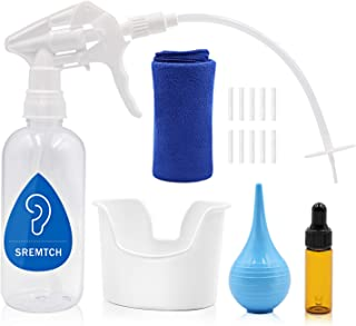 Ear Wax Removal Tool for Adults and Kids, SREMTCH Ear Wax Removal Kit, Including Ear Washer Bottle, Nozzles, Ear Basin, Bulb Ear Syringe, Dropper Bottle,10 Soft Tips & Towel - Ear Washer Bottle System