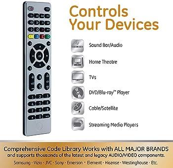 GE Universal Remote Control for Samsung, Vizio, LG, Sony, Sharp, Roku, Apple TV, RCA, Panasonic, Smart TVs, Streaming...