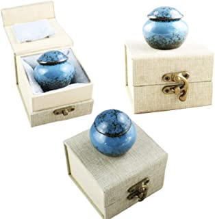 M MEILINXU Keepsake Urns Set of 3 - Small Cremation Urn, Ceramics Mini Funeral Urns for Human Ashes Adult -Fits a Small Amount of Cremated Remains- Display Burial Urn at Home or Office (Blue Ocean