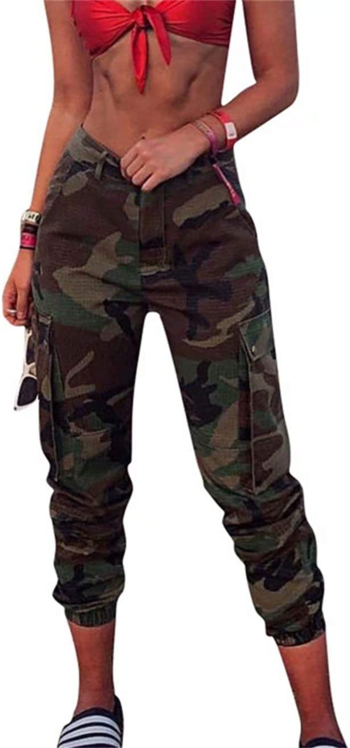 LpinkY Womens Sexy High Waist Pants Skinny Long Trousers Camo Jogger Outdoor Sport Leggings with Pockets