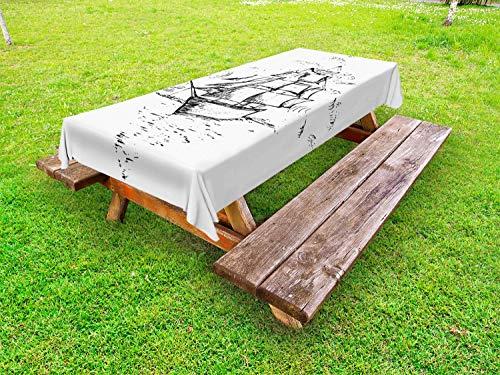 ABAKUHAUS Nautical Tattoo Outdoor-Tischdecke, Segelboot-Skizze, dekorative waschbare Picknick-Tischdecke, 145 x 265 cm, Charcoal Grau Weiß