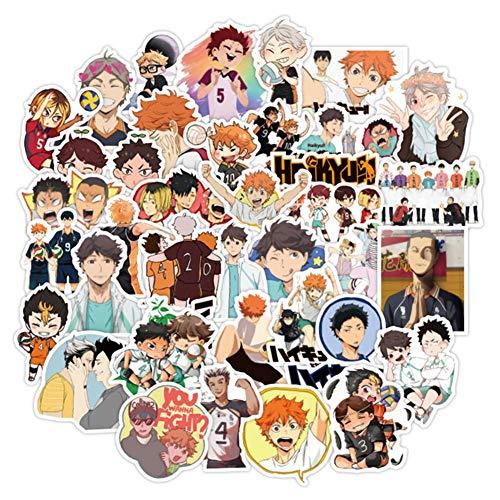 CAR-TOBBY 100Pcs Haikyuu Aufkleber Anime Doodle Sticker Reise Trolley Aufkleber PVC Wasserdicht Autoaufkleber Doodle Aufkleber Anime Ventilatoren Geschenk