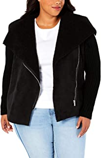 Style & Co Plus Size Faux Shearling Knit-Sleeve Jacket