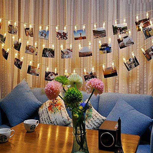 Photo Lights Pegs and String 40 Led Fairy Lights Clips Indoor Battery Powered, Hanging Photo Frames Decorations for Bedroom Wedding Party Tomshine