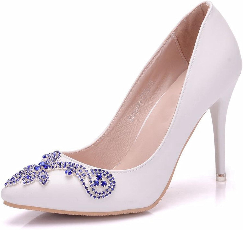 Minishion Women's Slim Pointed Toe Satin Slip-on Wedding Formal Party Pumps