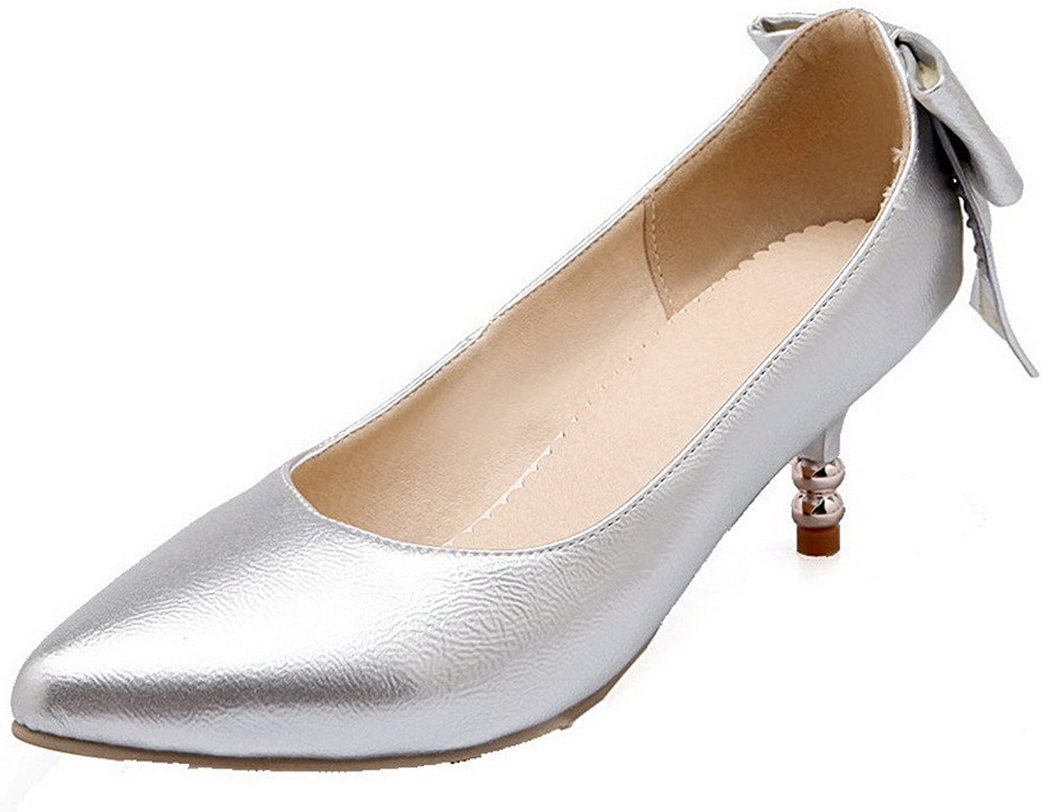 AllhqFashion Women's Pull-on PU Pointed Closed Toe Kitten-Heels Solid Pumps-shoes