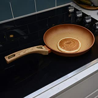 NEWARE Terra Cotta Enjoy Natural Cooking Grill Pan Eco Friendly Non Stick Grill Pan 24 cm