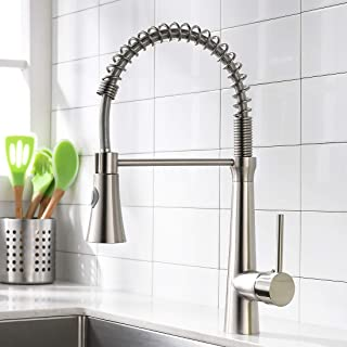 WANMAI Brushed Nickel Kitchen Faucet, Commercial Pull Down Bar Sink Faucet, Contemporary Stainless Steel Single Handle with Sprayer Kitchen Sink Faucets