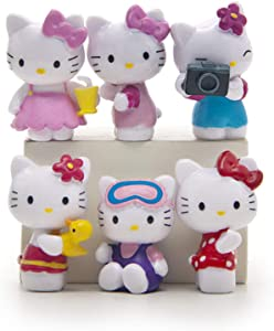 6 Pcs Cute Lovely Cat Characters Toys Kitty Figures Animal Figurines Mini Figure Collection Playset, Cake Topper, Plant, Automobile Decoration, Garden Cake Decoration