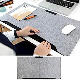 Trend Matters Durable Soft Wool Felt Desktop Mouse Pad with Storage Pockets and Pen Holder - Wool Felt Laptop Cushion Office Rug