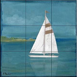 Ceramic Tile Mural - Square Sailboat - by Paul Brent - Kitchen backsplash/Bathroom Shower
