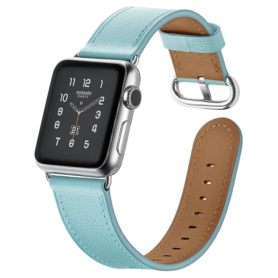 散文ディレクター透過性Aresh For Apple Watch専用バンド レザー製 高級ベルト 柔らかいレザーアップルウォッチ交換用バンド Apple Watch/Apple Watch Series 2/Apple Watch Series 3 対応 (38mm, ブルー)