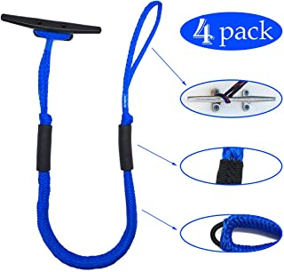Jranter Pack of 4 Bungee Dock Lines for Boat Shock Absorb Dock Tie Mooring Rope Boat Accessories 4-5.5 ft