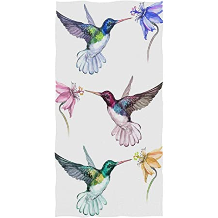 Naanle Beautiful Flowers Hummingbird Pattern Soft Bath Towel Large Hand Towels Multipurpose For Bathroom Hotel Gym And Spa 16 X 30 Pink Floral Home Kitchen