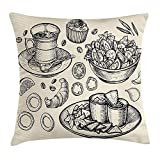 Heekie Funda de cojín Sketch Throw Pillow Cushion Cover, Nachos Croissant Tea Onion Rings and Muffins Monochrome Illustration of Food, Decorative Square Accent Pillow Case, Beige and Black