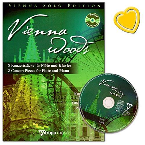 Vienna Woods - 8 concertstukken voor fluit en piano - Kurt Brunthaler, Thomass Doss, Manfred Spies - muziekschrift met CD en kleurrijke hartvormige muziekklem