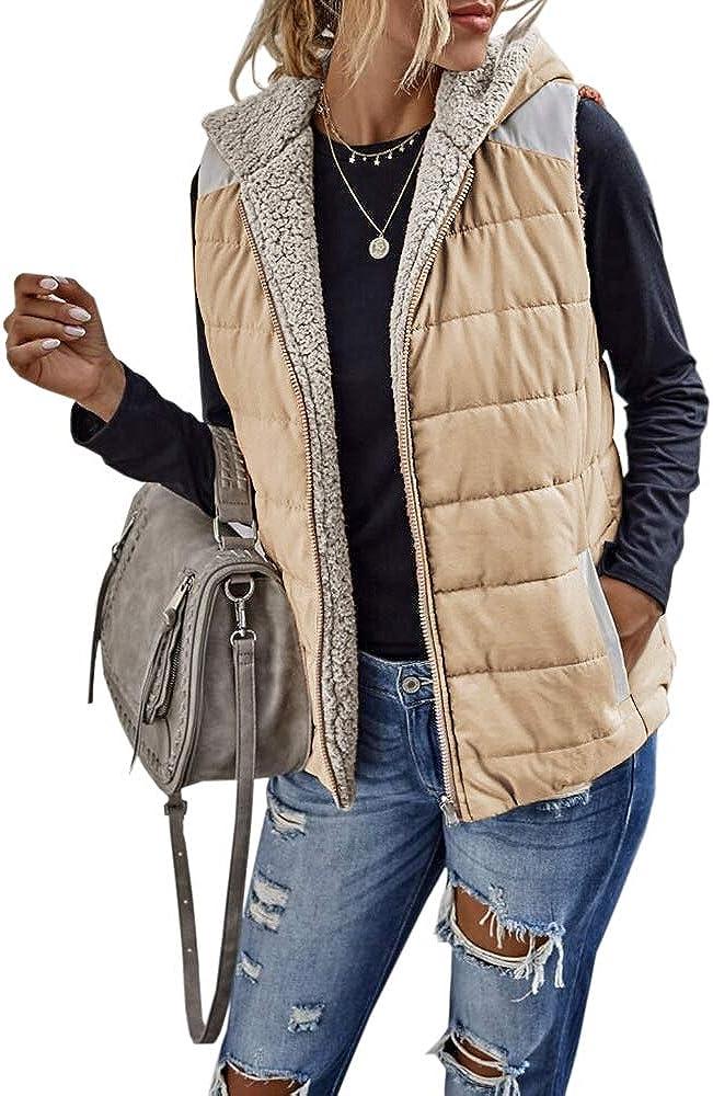 Womens Sherpa Fleece Zipper Up Vest Rare Color Block Warm safety Reversible