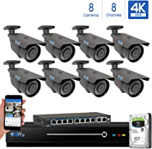 GW 8 Channel 4K NVR 8 Megapixel H.265 Video PoE Security Camera System - Eight 8MP 2160P Weatherproof 2.7-13.5mm Varifocal UltraHD 4K IP Bullet Cameras, 196ft IR Night Vision, Pre-Installed 4TB HDD