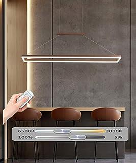 60W Moderna LED Lámpara Colgante Rectángulo Sala de Estar Anillos Marrón Araña de Luce Dormitorio Cocina Oficina Mesa de Comedor Escritorio 120 * 20CM,Regulable con Control Remoto