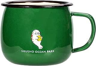 Enamel Camping Coffee Mug, Cute Cartoon Pattern Good for Kid's Daily Drinking Cup (Green - seal)