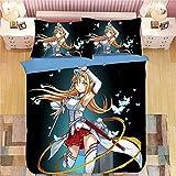 FUYUNDA Sword Art Online Series / 3 Piezas de Ropa de Cama de Anime/Patrón 3D de una Cara/Suave y Transpirable/con Funda de Almohada, Funda nórdica (sin edredón) / Tamaño Completo/El Mejor reg