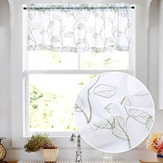 Topick Sheer Valance for Kitchen Leaf Embroidered Rod Pocket Bathroom Voile Curtain Valances 18 inch Green on White