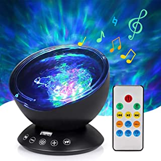 Ocean Wave Projector Lamp Night Light with Remote Control Music Speaker for Bedroom Living Room (Black)