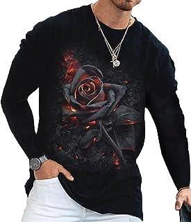 Men's Trendy Hip Hop City T-Shirt-Rose Print Round Neck Long Sleeve Loose Top, Mens Long Sleeve Casual T-Shirt Lightweight...