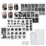 QIMEIYA Nail Art Stamping Templates Kit 1 Stamper 1 Scraper 4 Stamping Plates Reusable Image Plate Transfer Manicure Tool