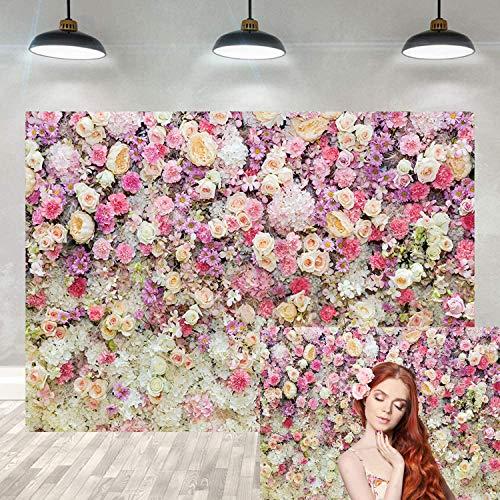 DANIU Fondo de pared de flores Flor de rosa para bodas, baby showers, recién nacidos, fiestas de cumpleaños, Fondo de decoración, Fondo de fotografía para bebés y niños