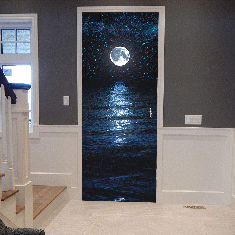 Amazon Hxcok 3dドアステッカー満月の夜景壁デカールドア壁画アート寝室のドア防水pvcステッカーdiyの壁紙家の装飾 95x215cm ウォールステッカー オンライン通販