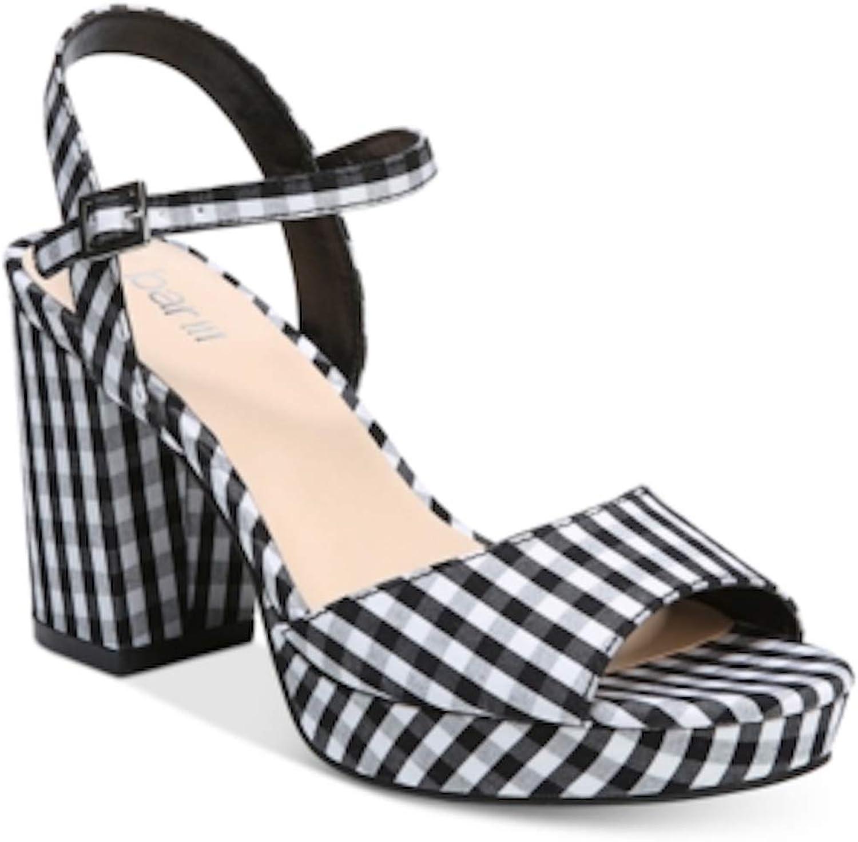 Bar III Womens Callista Gingham Ankle Strap Platform Sandals