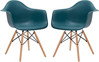 Poly and Bark Modern Mid-Century Vortex Arm Side Chair with Natural Wood Legs for Kitchen, Living Room and Dining Room, Teal (Set of 2)
